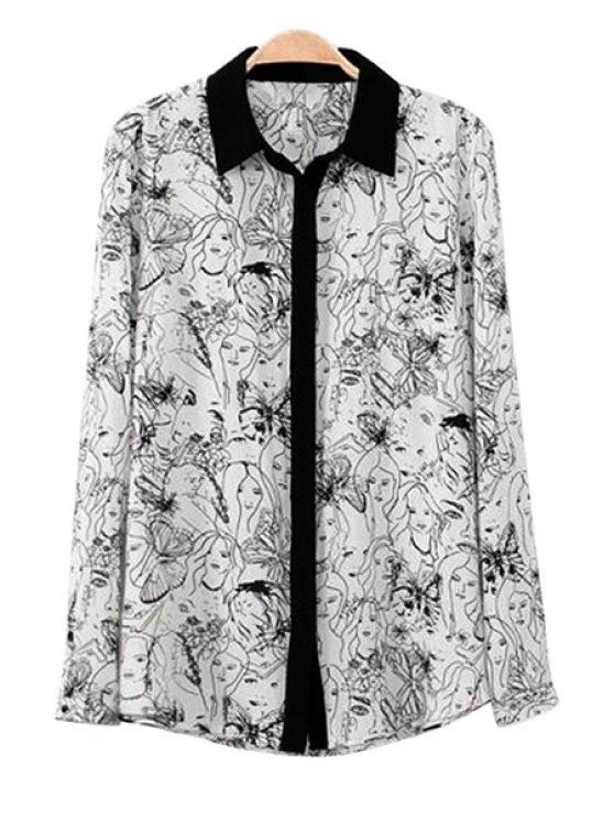 fancy Butterfly and Figure Print Shirt - WHITE AND BLACK S