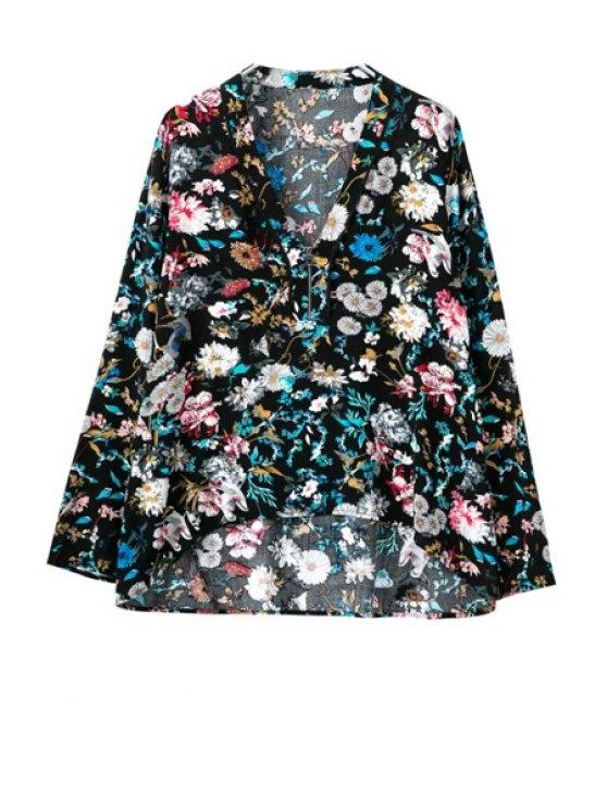 new Floral Long Sleeve Zipper Blouse - COLORMIX S