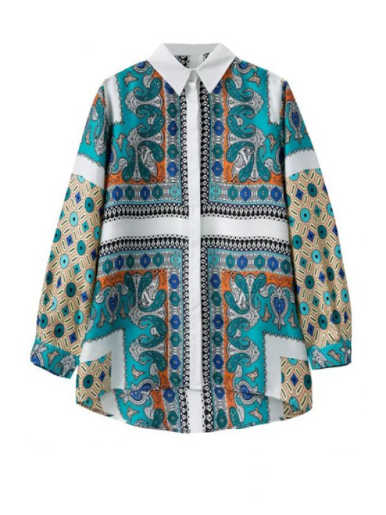 shop Long Sleeve Retro Print Shirt - TURQUOISE S