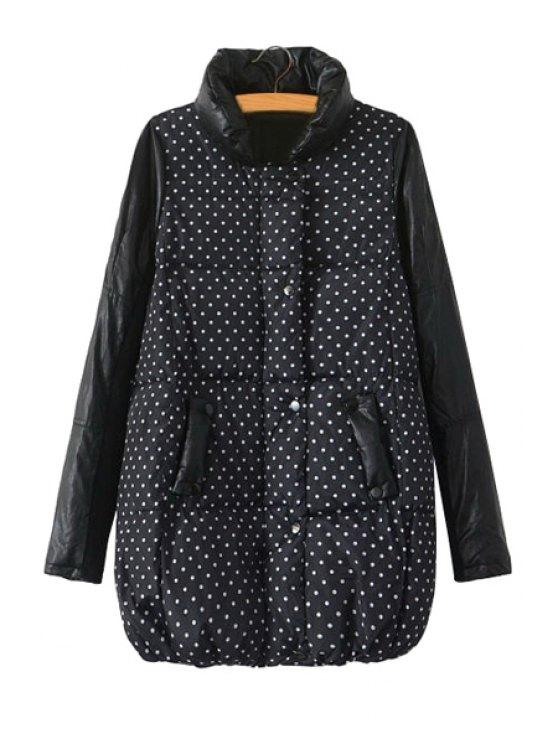 buy Polka Dot Print Splicing Coat - BLACK M