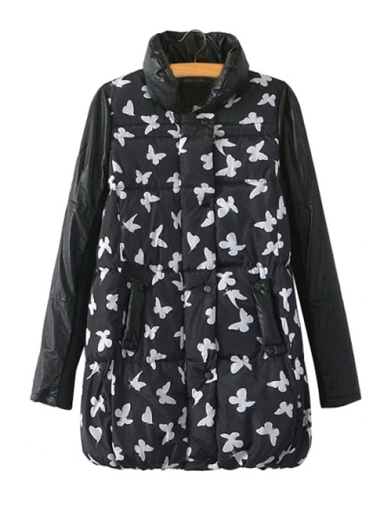 women's Butterfly Print Splicing Coat - WHITE AND BLACK M