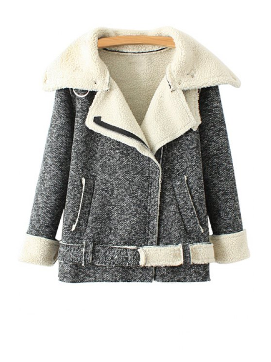 women Turn-Down Collar Lamb Wool Jacket - GRAY ONE SIZE(FIT SIZE XS TO M)