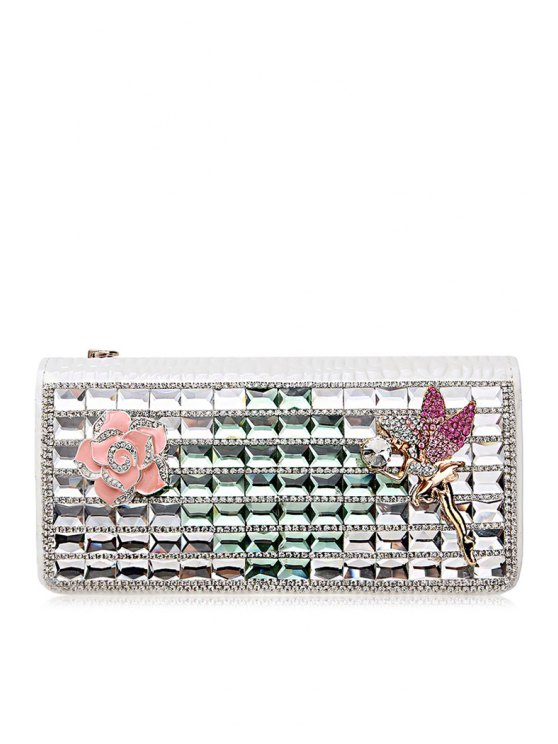 women's Rhinestones Flower Zipper PU Leather Wallet - WHITE