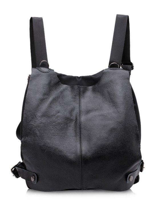 new Rivets Black PU Leather Satchel - BLACK