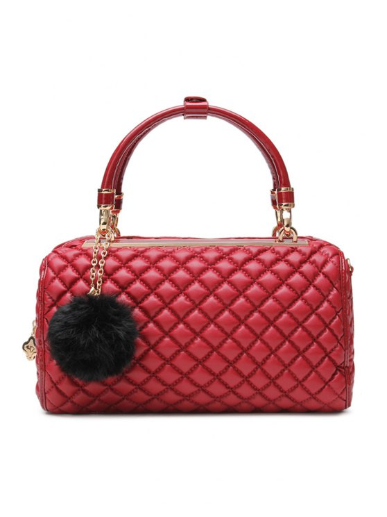 outfit Checked Pom-Pom Metallic Zipper Tote Bag - DARK RED