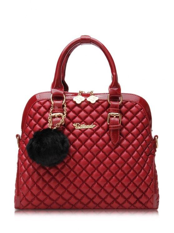 chic Pom-Pom Checked PU Leather Tote Bag - DARK RED