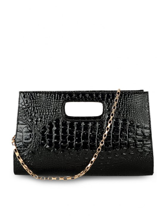 womens Crocodile Print Chain PU Leather Tote Bag - BLACK