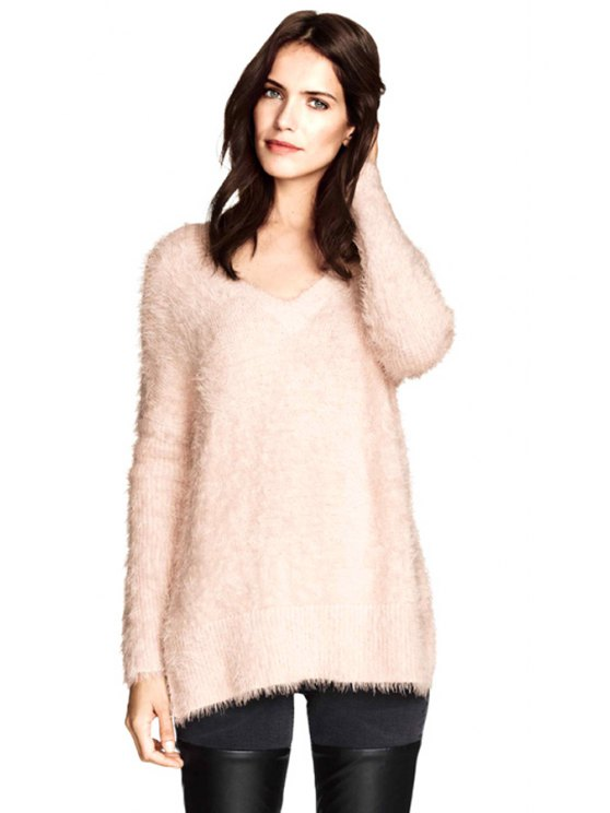 outfits V-Neck Solid Color Mohair Sweater - PINK XS