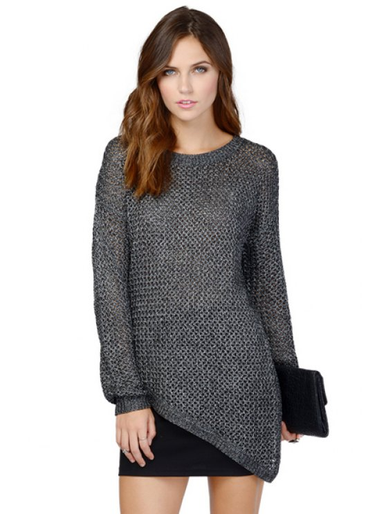 buy Solid Color Irregular Hem Sweater - GRAY XS