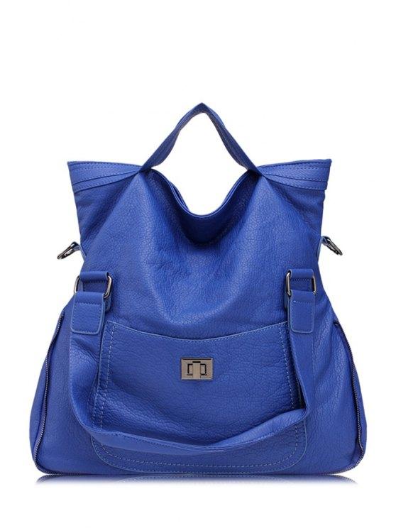 unique Solid Color Hasp Zipper Crossbody Bag - BLUE
