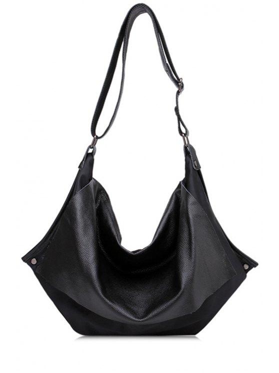 womens Rivets Black PU Leather Crossbody Bag - BLACK