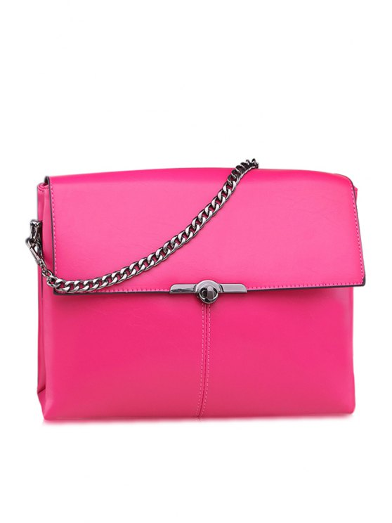 hot Solid Color Chain Metallic Tote Bag - ROSE MADDER