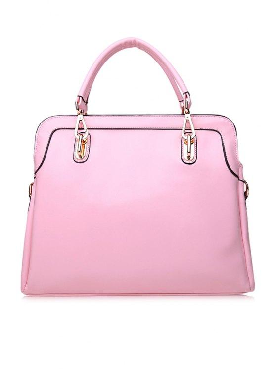 shop Metallic Solid Color Zipper Tote Bag - LIGHT PINK