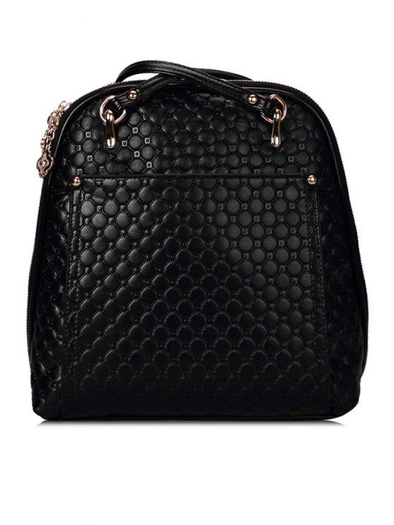 fancy Rivets Embossing PU Leather Zipper Satchel - BLACK