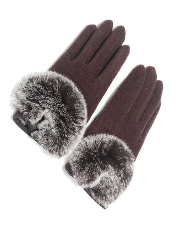 fashion Faux Fur Button Design Gloves - COFFEE