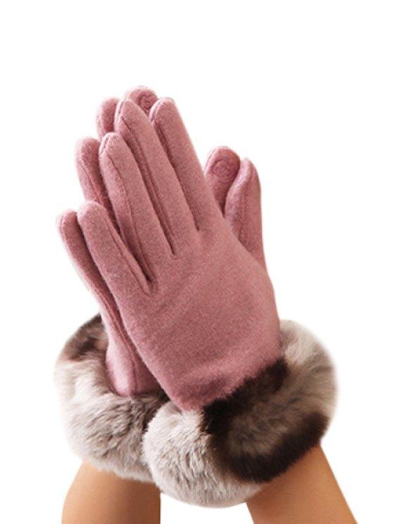 women's Faux Fur Solid Color Gloves - PINK