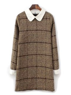 Checked Pattern Peter Pan Collar Dress - Coffee M