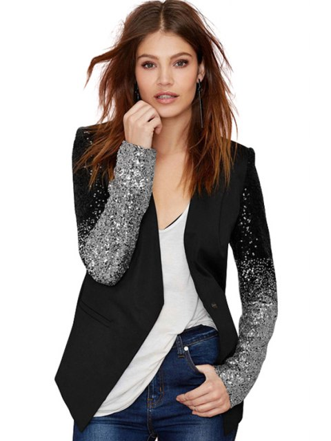 chic Sequins Splicing Long Sleeve Blazer -   Mobile