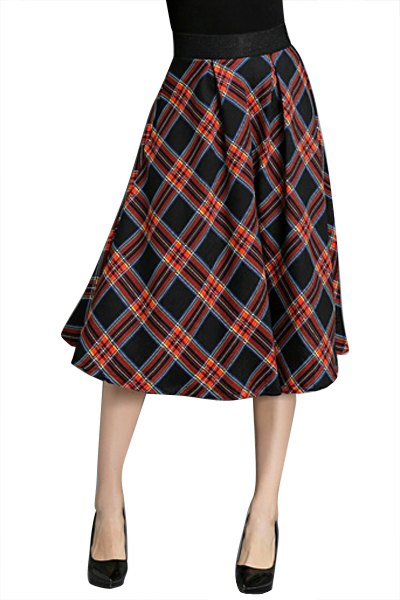 plaid pattern a line skirt