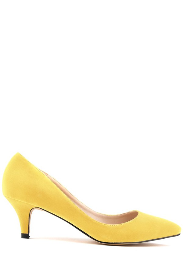 Suede Pointed Toe Solid Color Pumps