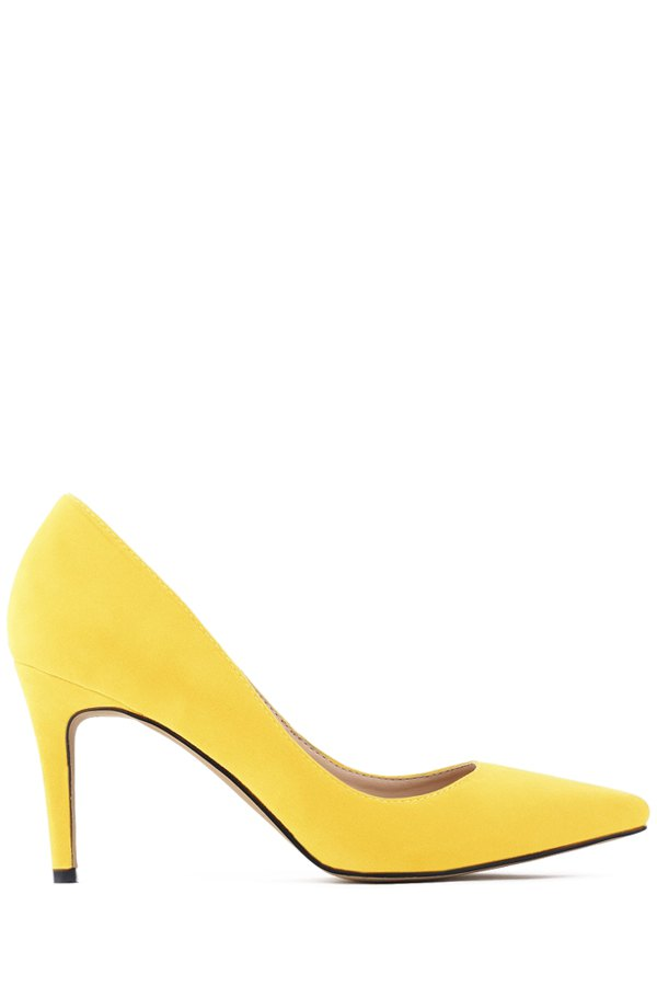 Buy Pointed Toe Suede Stiletto Heel Pumps YELLOW 38