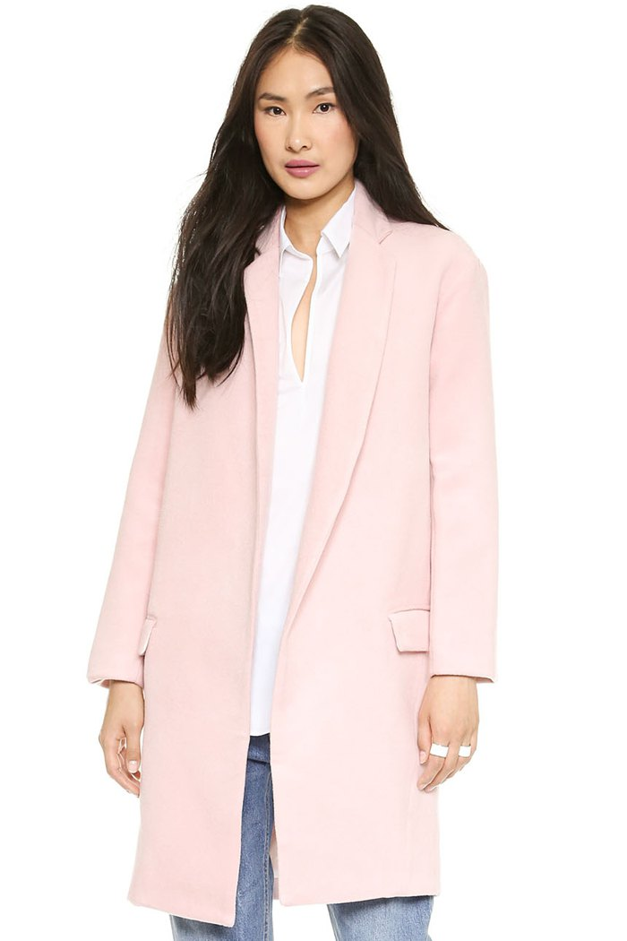 Apparel discounts list - Lapel Collar Pink Worsted Coat