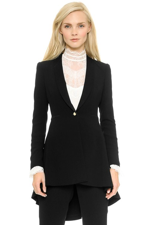 Shawl Collar Black High-Low Hem Blazer