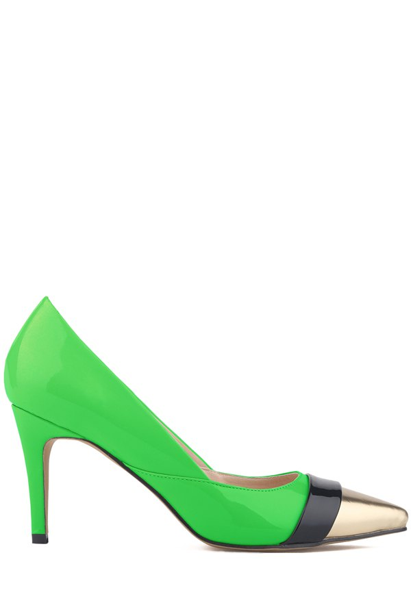 Pointed Toe Patent Leather Color Block Pumps