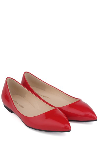 Patent Leather Pointed Toe Flat Shoes 116292640