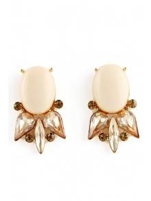 Pair of Faux Gem Embellished Earrings