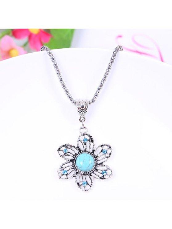 best Chic Women's Turquoise Rhinestone Flower Pendant Necklace - LIGHT BLUE