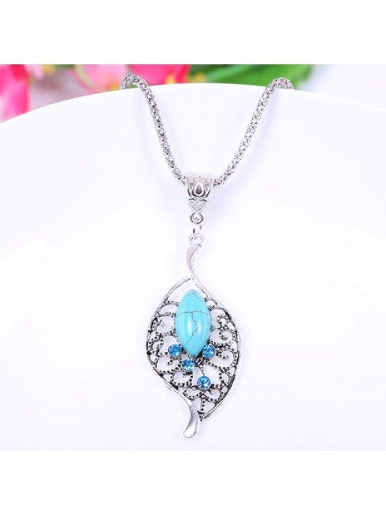 outfit Chic Women's Turquoise Rhinestone Leaf Shape Pendant Necklace - LIGHT BLUE