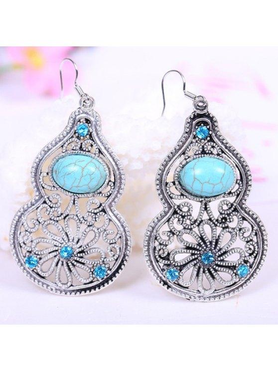 sale Pair of Retro Style Kallaite Embellished Calabash Shape Pendant Earrings For Women - LAKE BLUE