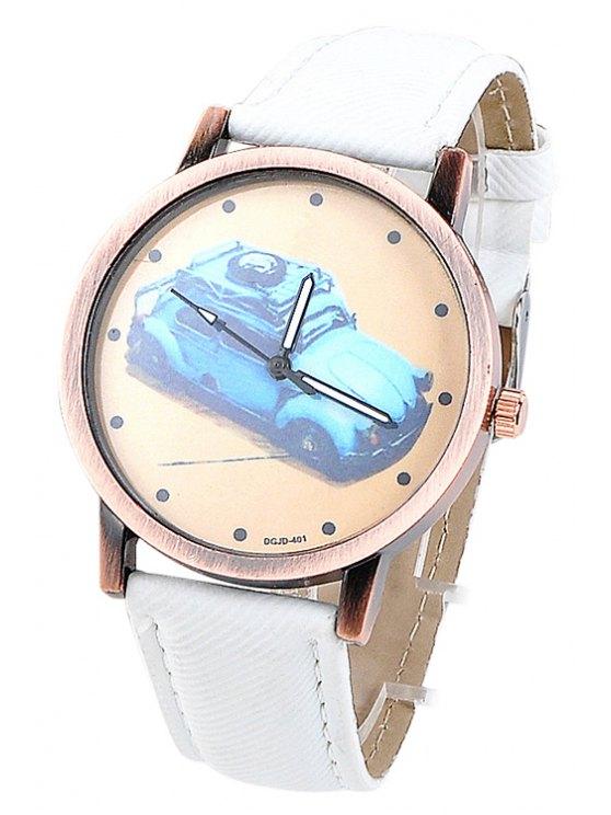 new Car Pattern Denim Watch - WHITE
