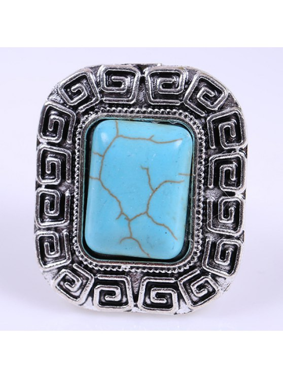 buy Retro Women's Turquoise Decorated Square Ring - SILVER ONE-SIZE