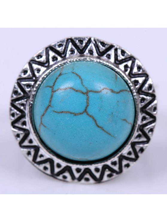 womens Stylish Women's Turquoise Decorated Round Ring - SILVER ONE-SIZE
