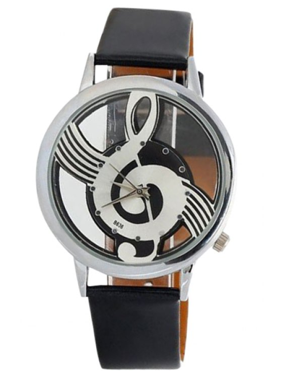 unique Musical Note Pattern Watch - BLACK
