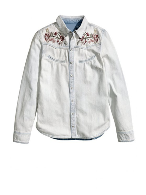 new Floral Embroidery Denim Shirt - OFF-WHITE XS