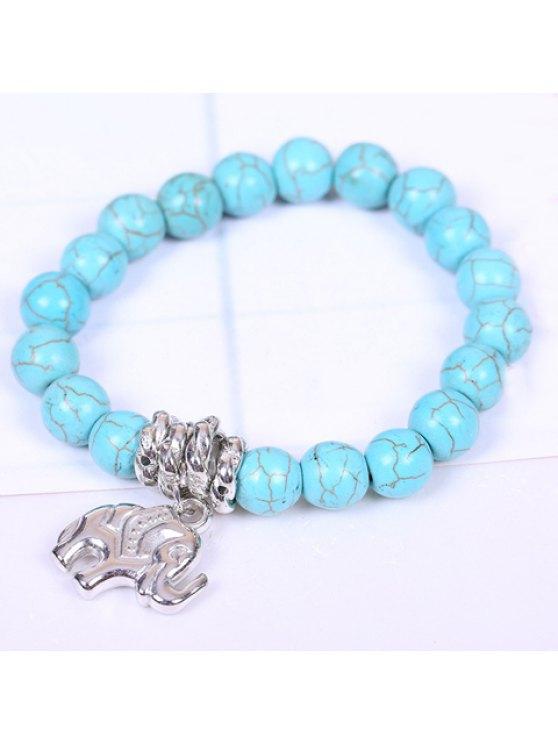 women Retro Women's Turquoise Printed Elephant Bracelet - LAKE BLUE
