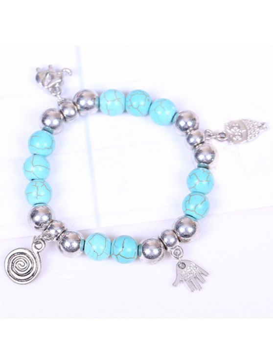online Ethnic Women's Turquoise Printed Hand Pendant Bracelet - SILVER AND BLUE