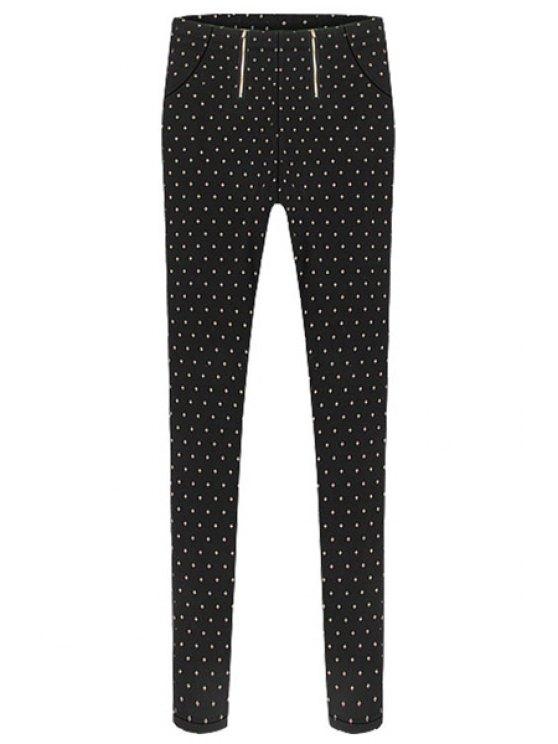 outfits Narrow Feet Polka Dot Pants - BLACK S