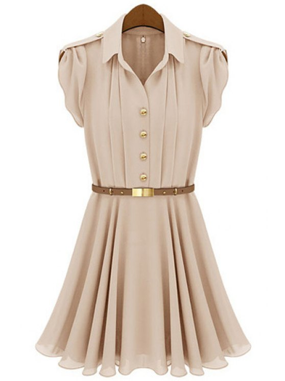 chic Solid Color Short Sleeves Dress - NUDE S
