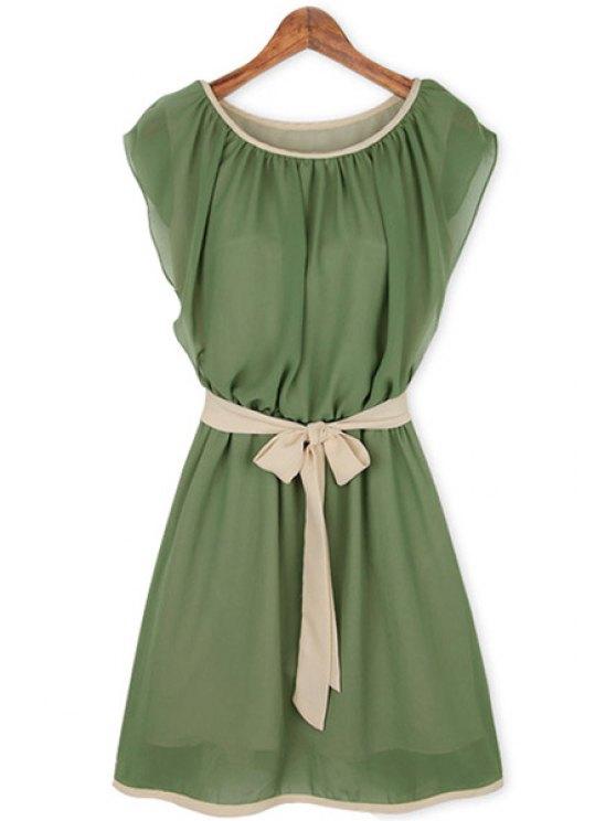 online Color Block Chiffon Self-Tie Dress - GREEN S
