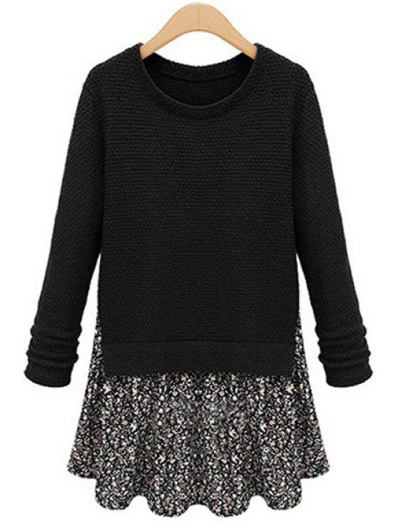 buy Floral Print Splicing Dress - BLACK XL