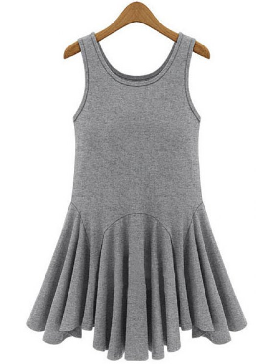 sale Black Ruffles Splicing Sundress - GRAY XL