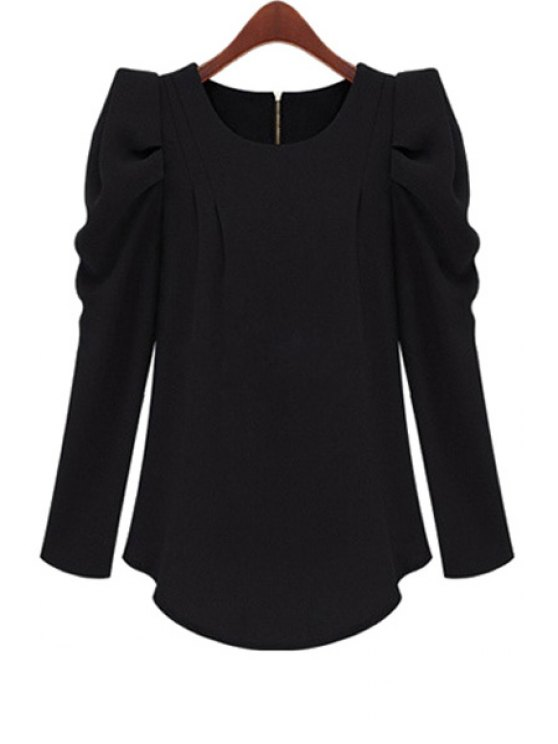 outfits Solid Color Long Sleeve Blouse - BLACK S