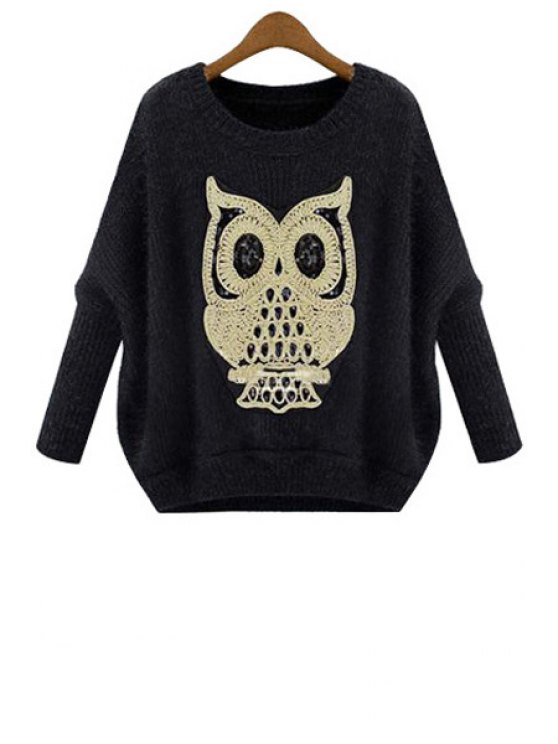 unique Owl Embroidery Long Sleeve Sweater - BLACK ONE SIZE(FIT SIZE XS TO M)