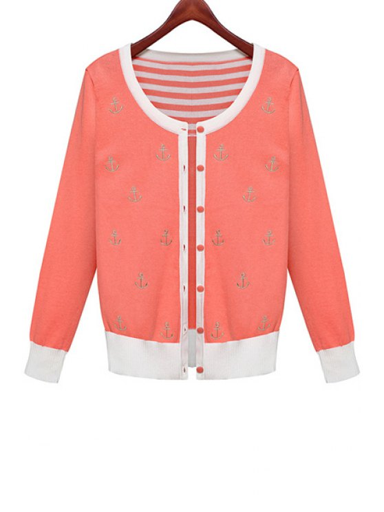 affordable Anchor Embroidery Cardigan - ORANGE RED ONE SIZE(FIT SIZE XS TO M)