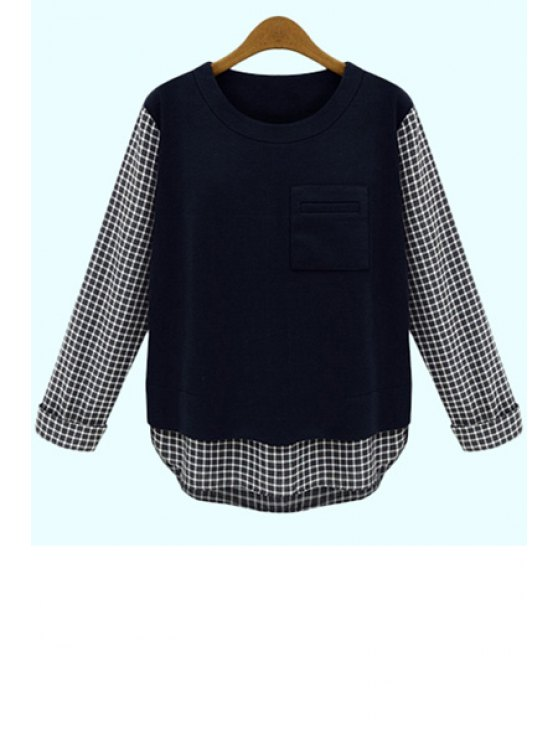 buy Checked Splicing Knitwear - BLUE S
