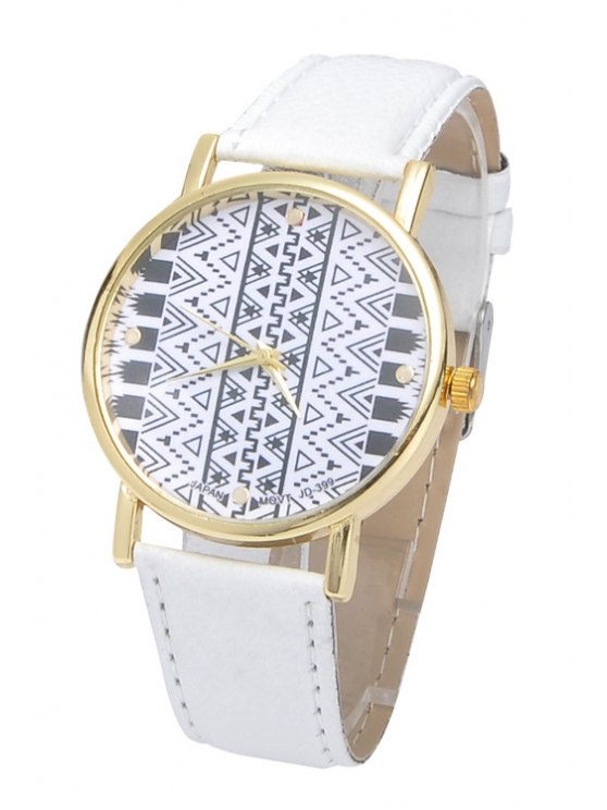 hot Geometric Print Watch - WHITE